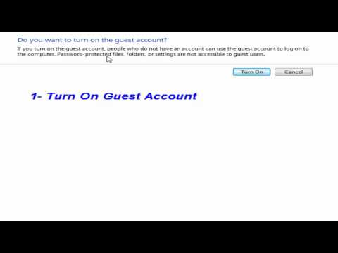 How to Turn On or Turn Off Guest Account in Windows 7