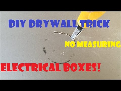 No Tape Measure Needed! Drywall Trick- Easiest way for cutting electrical ceiling boxes wall outlets