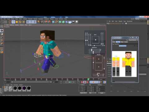 Cinema 4d Tutorial: how to animate a Minecraft character walking, running and jumping