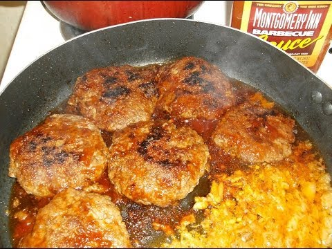 Montgomery Inn bbq'd burgers and rice