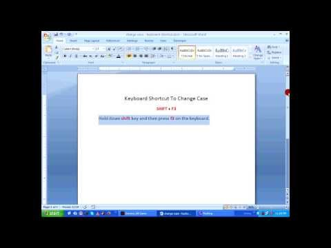 MS Word Tutorial - Change Case using keyboard shortcuts HD