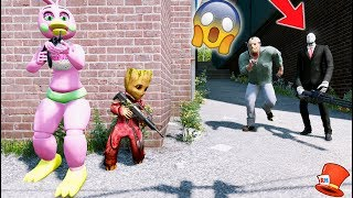 CAN FLOWER CHICA & BABY GROOT HIDE FROM SLENDER MAN & JASON? (GTA 5 Mods For Kids FNAF RedHatter)