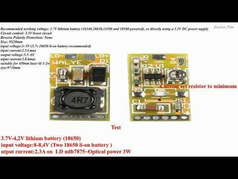 Adjustable 445nm 450nm 1W - 2W Blue Laser Diode Driver Power 3~5V ( test )