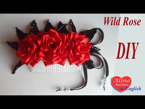 Comb for hair Wild Rose. DIY