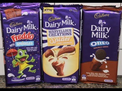 Cadbury: Freddo with Sprinkles, Marvellous Creations Spider Choc Lemonade, Oreo Double Choc