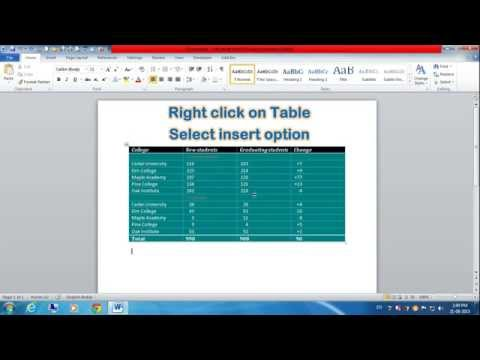 How to Add Column, Row and Cell in Table (MS Word)