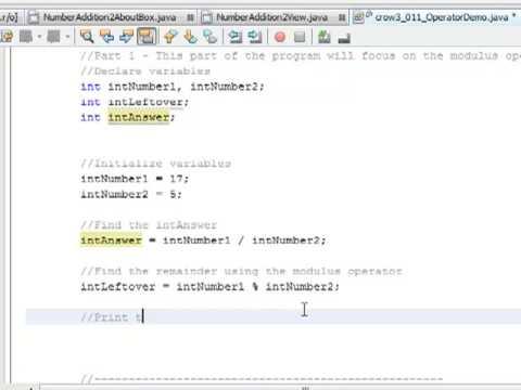 011 - Using Operators and Modulus Division In Java