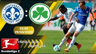 Nhận định, soi kèo Darmstadt vs Greuther Furth 23h30 ngày 29/05 - vòng 29 - Hạng 2 Đức 2019/2020