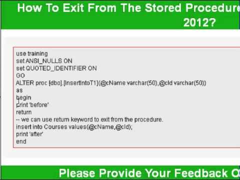How to exit from the stored procedure in sql server