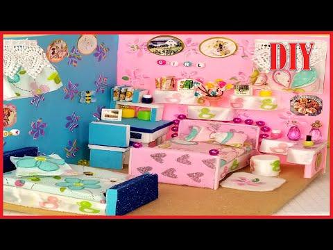 Awesomediydollcraft / Cute DIY DollHouse bedroom   Miniature doll  bedroom tutorial