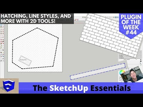 SketchUp Hatching, Lineweights, Line Styles, and More with 2D Tools - Extension of the Week #44