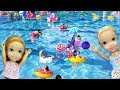 Download SUPER pool party ! Elsa and Anna toddlers - MANY floaties - Barbie - lazy river - water fun splash MP3,3GP,MP4