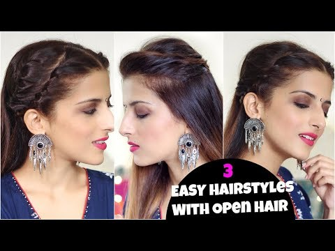 SIMPLE Indian Hairstyles With Open Hair For Weddings, Party/ Hairstyles For Medium To Long Hair