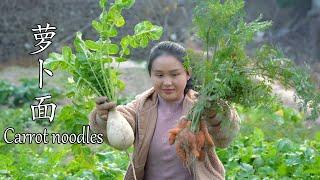 挖一个萝卜、胡萝卜,做一锅萝卜面,看着馋人Dig a radish, carrot, make a radish noodle, and watch