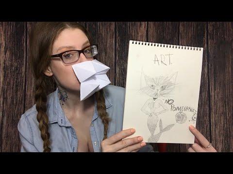 ASMR LYING ART TEACHER RP   Teaching Pencil Sketching & Origami   NO POMEGRANATES