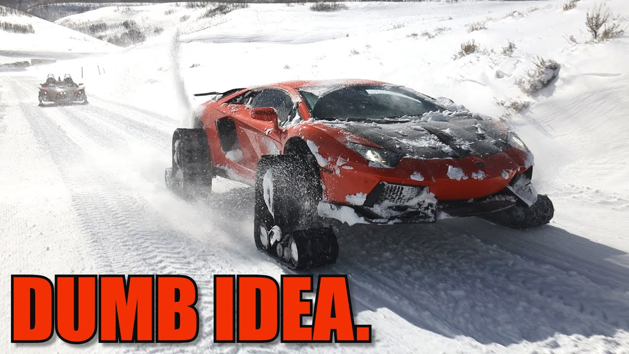 Lamborghini on Snow Tracks is a Disaster