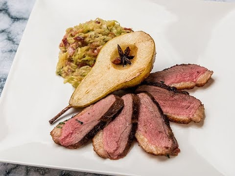 Seared Duck Breast with Caramelized Pear and Cabbage
