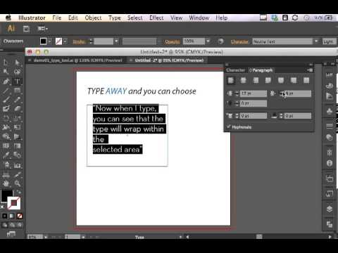 Adobe Illustrator CS6 Type Tool, Character and Paragraph Panels