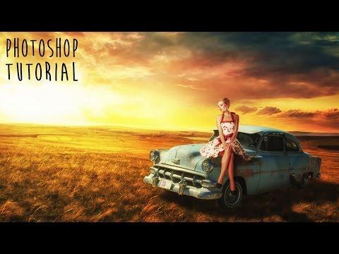 Girl & old car retro look -  Photoshop Manipulation Tutorial