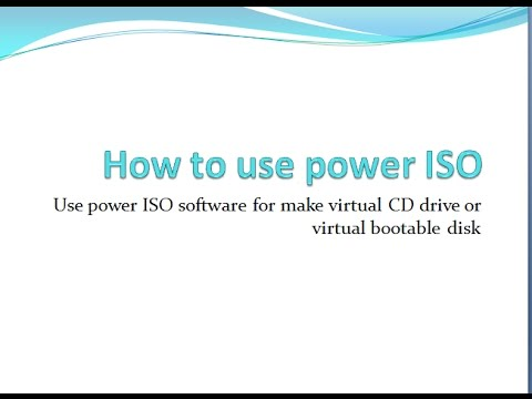 How to make virtual cd drive by power iso . use iso file or  driver pack without cd