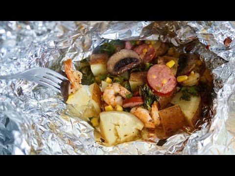 BEST!!! Shrimp, Veggie, Potato Foil Pack   Oven Baked  MUST TRY RECIPE!