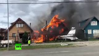 Plane crashes into residential houses in Chile
