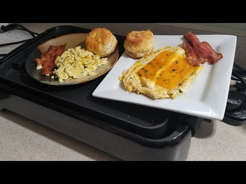 Fried and Scrambled Eggs Breakfast using Cooks Essentials Reversible Grill & Griddle