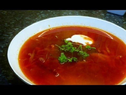 Healthy Ukrainian/Russian red  beetroot broth with chicken - Borsch