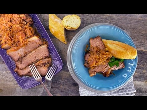 Daphne Oz' Cider-Braised Brisket with Red Cabbage and Apples