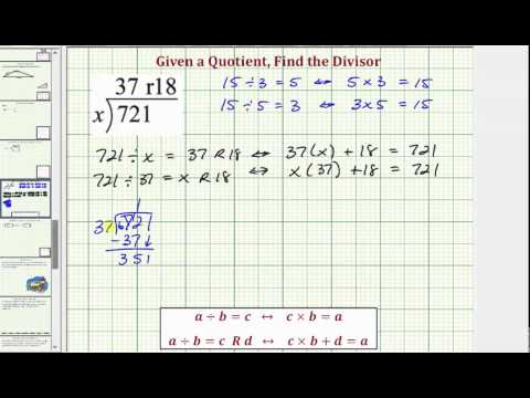 Find the Divisor Given a Quotient with a Remainder