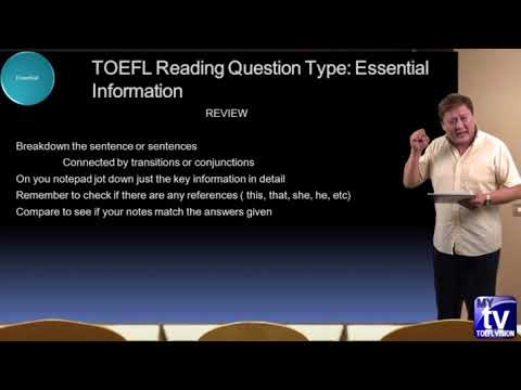 IBT TOEFL Reading  essential information examples and methods