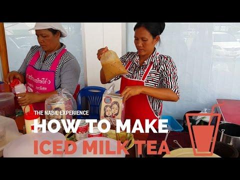 How to make Thai iced milk coffee or tea  ชาเย็น - Street Food