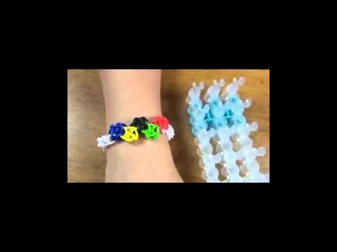 Olympic theme rubber band bracelet made with Rainbow Loom New 2014