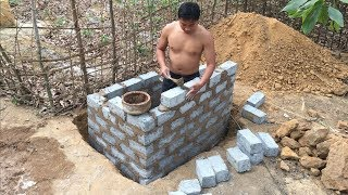 Primitive Technology:Tank from Brick-part 1-Primitive life-wilderness
