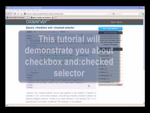 JQUERY Tutorial : jQuery checkbox and checked selector