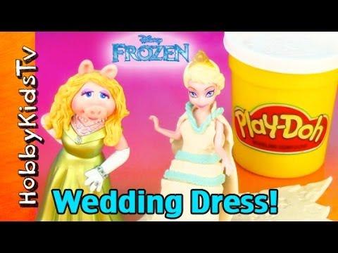 Disney FROZEN Snow Queen Play-Doh Wedding Dress! HobbyKidsTV