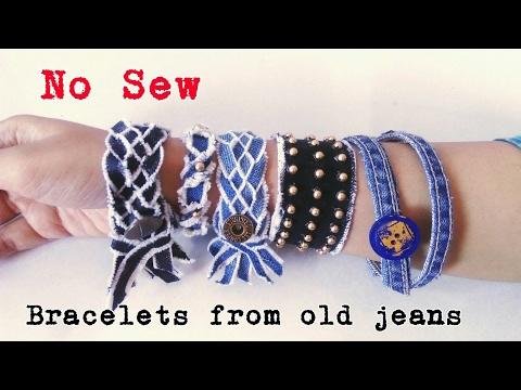 Denim Bracelets from old jeans | Recycle old jeans | No sew | DIY Bracelet