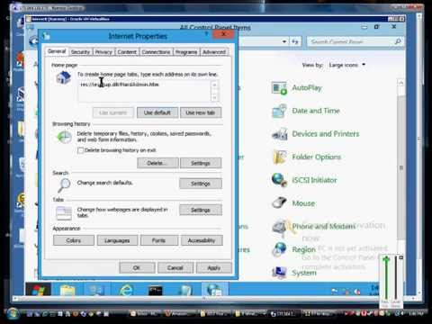 How to change to the default page in Internet Explorer in Microsoft Windows 8