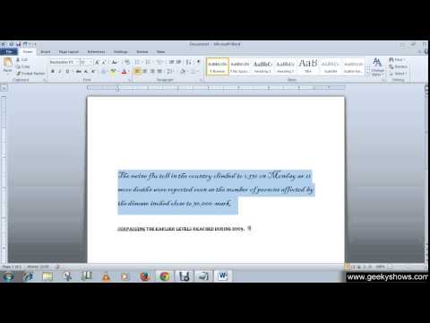 Microsoft Office Word 2010 Change Font, Font Size, Font Color