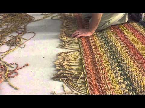 Fringe repair on a jute rug