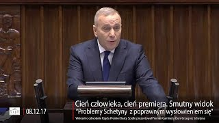 """Prawdziwy cień premiera. Schetyna w expose """"miał problemy z wysłowieniem się"""""""