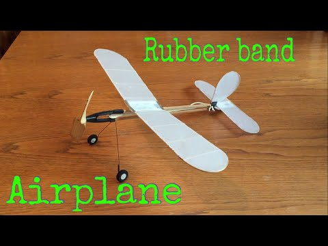 Homemade Rubber Band Airplane - Test Flight