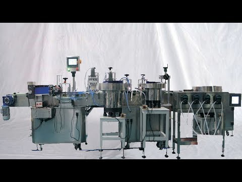 USA customers Factory acceptance on E cigar oil filling capping horizontal labeling line 美國客戶工廠驗機煙油線