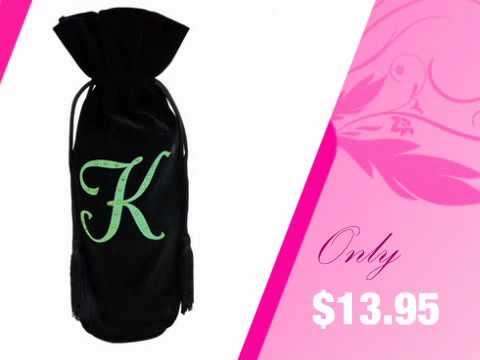 Custom Letter Velvet Wine Bag with Scattered Rhinestones - AdvantageBridal.com