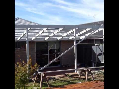 Skillion roof pergola construction