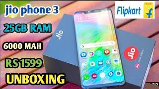 Jio phone 3 unboxing . Price 1599 , camera 25mp, battery 6000mah.