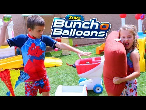 Water Balloon Fight in the Backyard With Our SPRAY GROUND!!