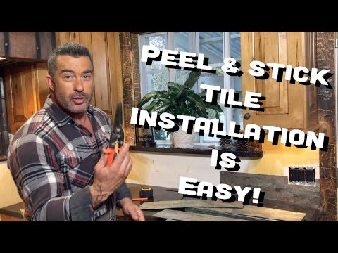 Skip Bedell installing Aspect Peel & Stick Tiles