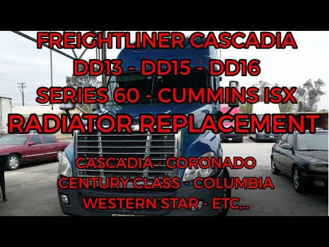 Freightliner Cascadia DD13 DD15 engine radiator removal replacement