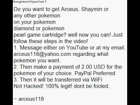How To Get Arceus, Shaymin, Darkrai, Mew, Celebi, Deoxys, Jirachi on Pokemon Diamond & Pokemon Pearl